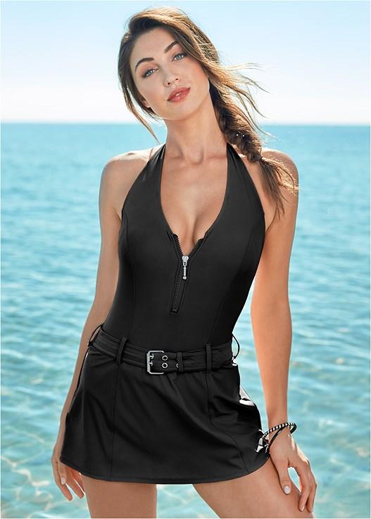 9ac7ede0075 Black SLIMMING SWIM DRESS