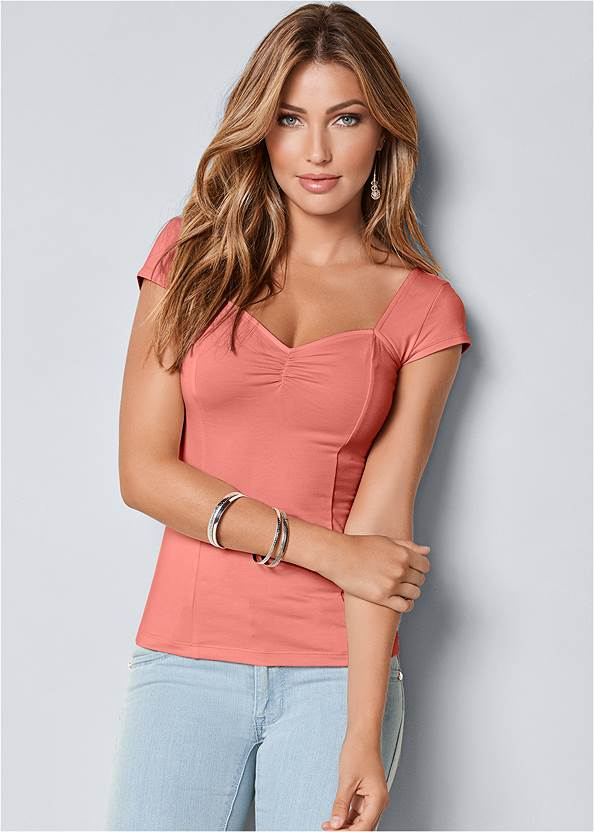 Cap Sleeve Basic Top,Mid Rise Color Skinny Jeans