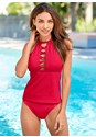 Front View Twist High Neck Tankini Top
