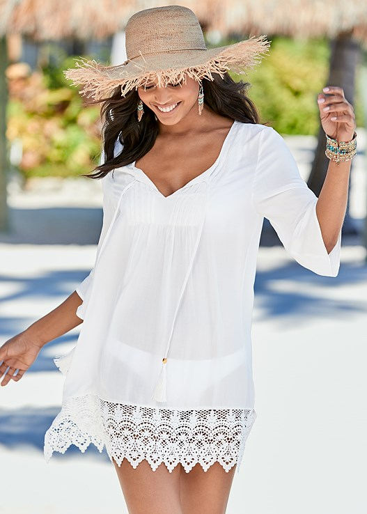 BELL SLEEVE BABYDOLL DRESS,STRAW FRINGE HAT,GROMMET LACE UP ONE-PIECE