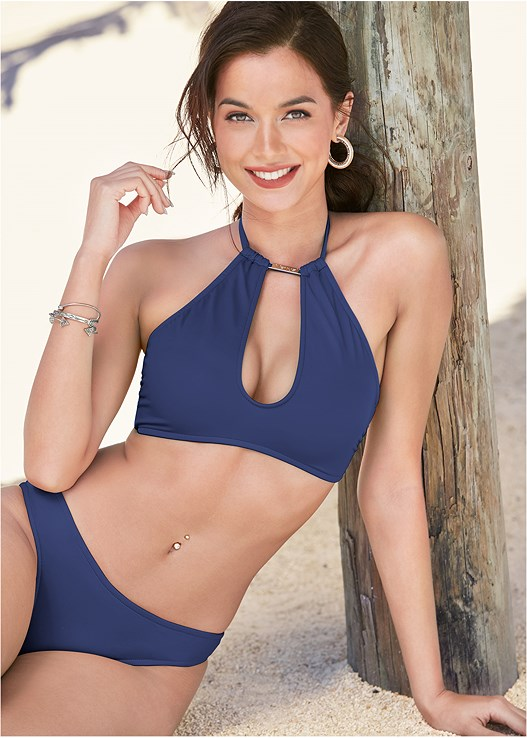 HIGH NECK KEYHOLE TOP,SCOOP FRONT BIKINI BOTTOM,LOW RISE BIKINI BOTTOM