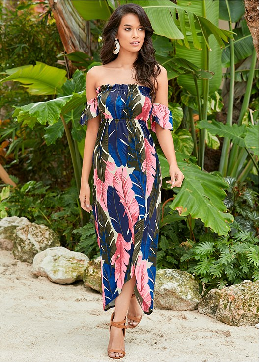 OFF THE SHOULDER MAXI DRESS,RAFFIA DETAIL HEELS