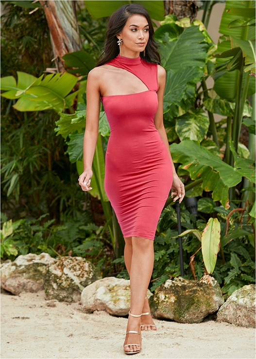 MOCK NECK BODYCON DRESS,HIGH HEEL STRAPPY SANDALS,ASYMMETRICAL STRAPPY HEELS