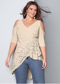 e4c46726f49361 plus size lace cold shoulder top