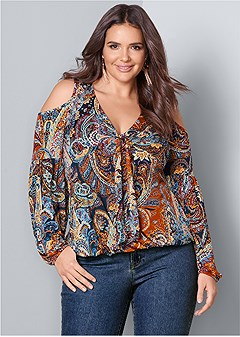 plus size cold shoulder paisley top