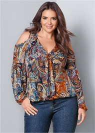 Front View Cold Shoulder Paisley Top