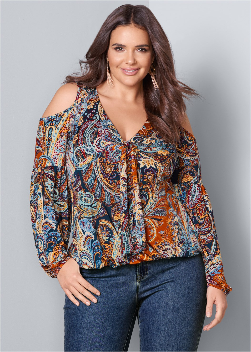 Cold Shoulder Paisley Top,Mid Rise Color Skinny Jeans,Open Heel Booties