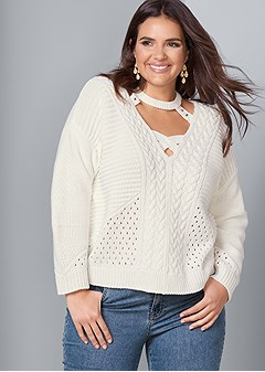 plus size cut out detail sweater