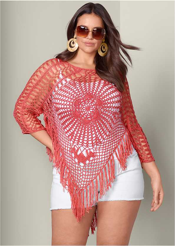 Crochet Sweater,Frayed Cut Off Jean Shorts