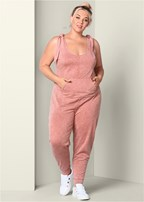 plus size tie shoulder jumpsuit