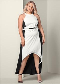 plus size color block high low dress