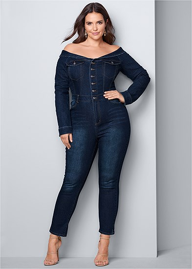 Plus Size Off Shoulder Denim Jumpsuit
