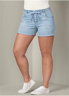 plus size lace up front shorts