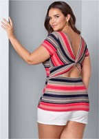 plus size twisted back detail top
