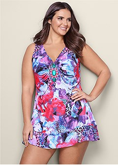 plus size embellished print dress