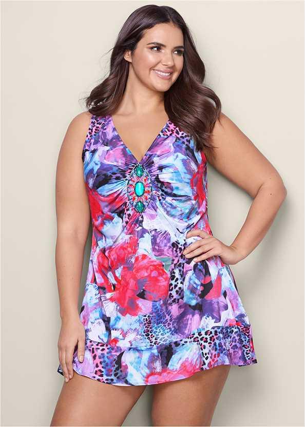 Embellished Print Dress