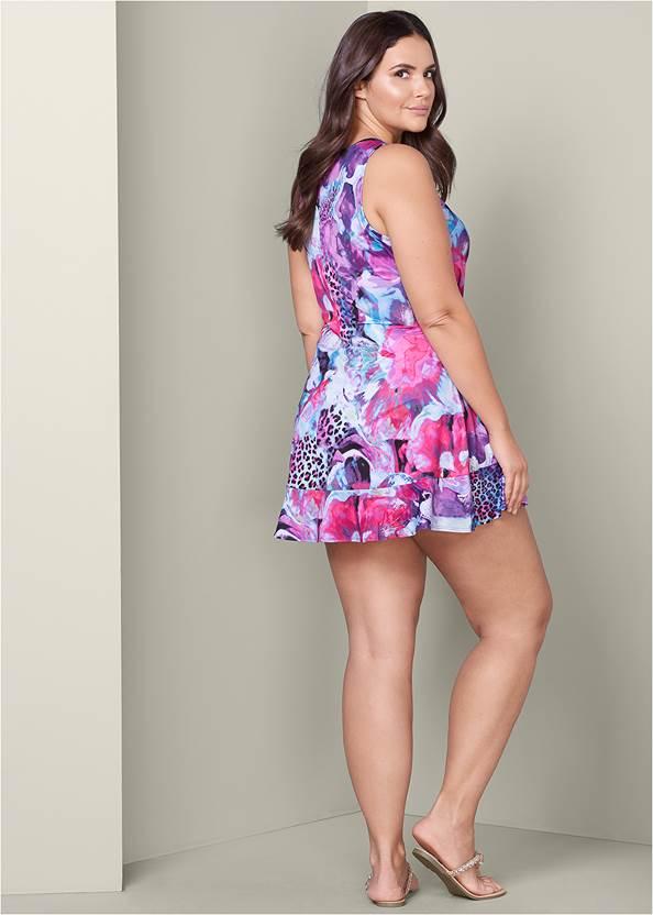Back View Embellished Print Dress