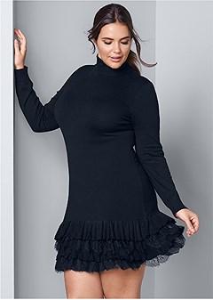 plus size ruffle hem sweater dress