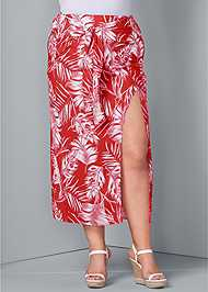 Front View Tie Front Maxi Skirt