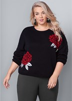 plus size rose print sweater