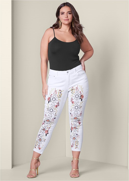 EMBELLISHED JEANS,SEAMLESS CAMI,HIGH HEEL STRAPPY SANDALS,EMBELLISHED RESIN EARRINGS