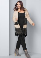 plus size tassel detail duster