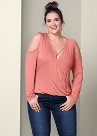 Front View Strappy Surplice Top