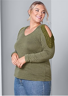 plus size cold shoulder lounge hoodie