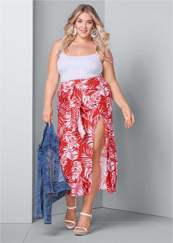 Tie Front Maxi Skirt,Jean Jacket,Basic Cami Two Pack