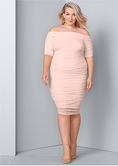 2029989547d plus size ruched mesh bodycon dress