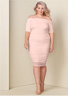42c7d55027c plus size ruched mesh bodycon dress