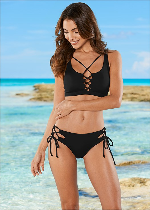 STRAPPY SCOOP SWIM TOP,DOUBLE LOOP TIE SIDE BOTTOM,STRING SIDE BIKINI BOTTOM,RUFFLE EDGE LOW RISE BOTTOM,MESH WRAP SKIRT