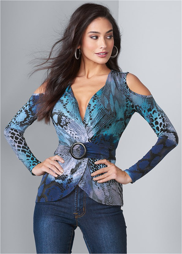 Snake Print Surplice Top,Mid Rise Color Skinny Jeans