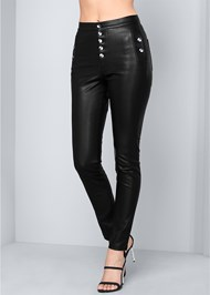 Front View High Rise Faux Leather Pant