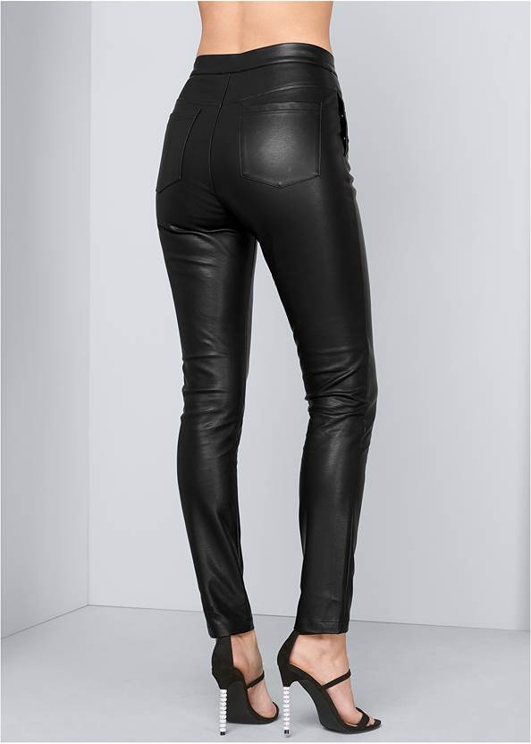 Back View High Rise Faux Leather Pants