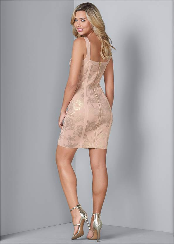 Back View Foil Print Bandage Dress