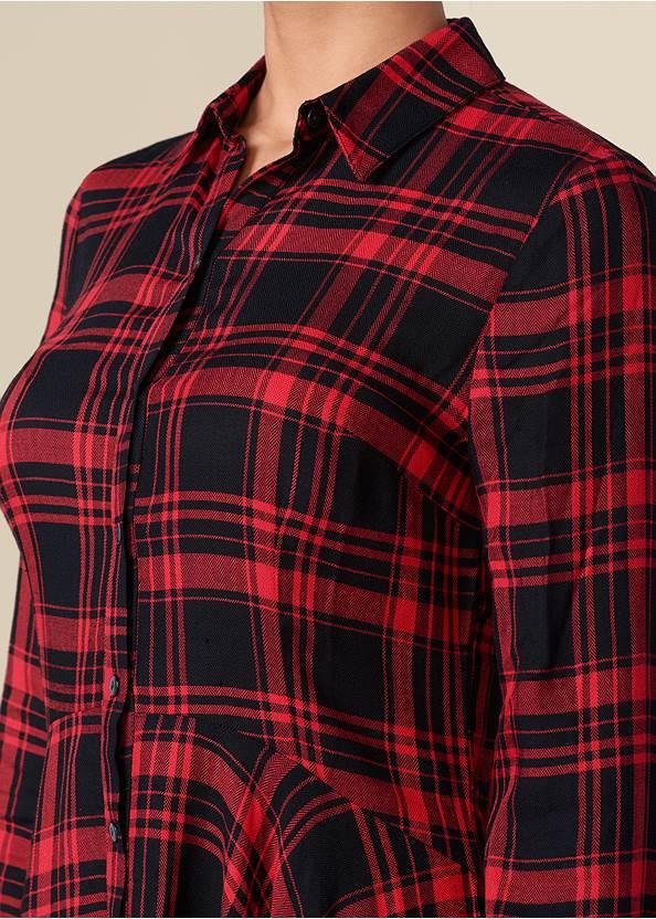 Alternate View Plaid High Low Dress