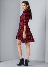 Back View Plaid High Low Dress