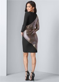 Back View Foil Bodycon Dress