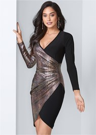 Front View Foil Bodycon Dress