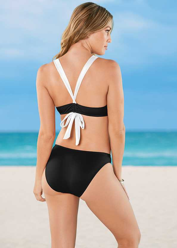 V Back Enhancer,Scoop Front Classic Bikini Bottom ,Low Rise Classic Bikini Bottom ,String Side Bikini Bottom,Braided Tie Strap Cover-Up Dress