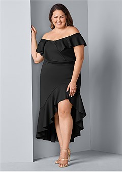 plus size high low ruffle dress