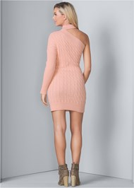 Back View Cable Knit Sweater Dress