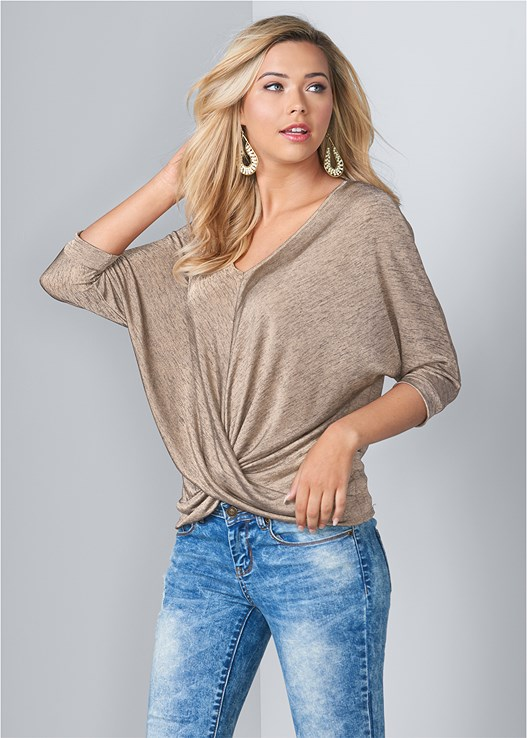 TWIST DETAIL TOP,ACID WASH JEANS,NAKED T-SHIRT BRA,KNOTTED SLOUCHY BOOTS,BEADED DROP EARRINGS
