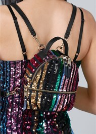 Alternate View Striped Sequin Backpack