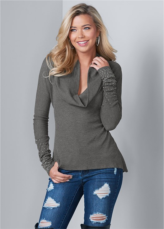 EMBELLISHED COWL NECK TOP,DISTRESSED BUM LIFTER,RHINESTONE DETAIL HOOPS