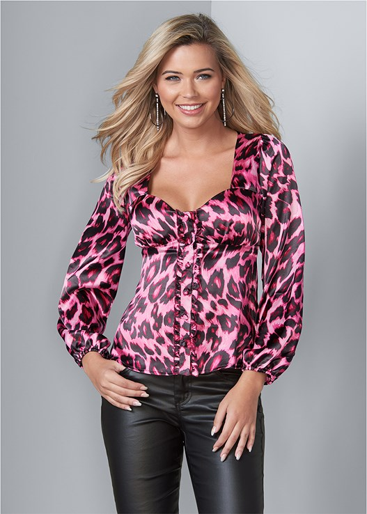 LEOPARD PRINT BLOUSE,FAUX LEATHER PANTS,EVERYDAY YOU STRAPLESS BRA,HIGH HEEL STRAPPY SANDALS