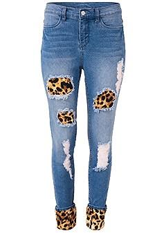 plus size leopard cuffed jeans
