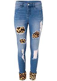 Alternate View Leopard Cuffed Jeans