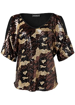 plus size camo sequin top